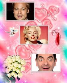 collage tres fotos enamorados