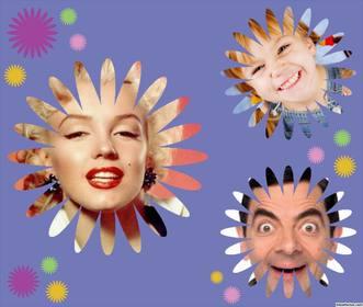 Collage decorativo para tres fotos con formas de flor y gratis