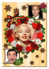 Collage de Navidad con flores para personalizar con tres fotos.