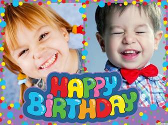 Colagem de colorido e alegre cartão postal Feliz aniversário para editar com duas imagens de