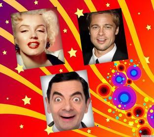 Foto collage con disegno psichedelico per modificare con tre foto