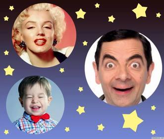 collage especial subir tres fotos decorado estrellas