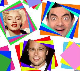 Collage para fotos con cuadros de colores que puedes editar online