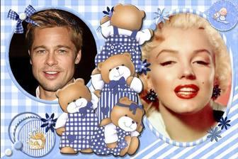 Collage infantil para personalizar con 4 ositos y dos fotos tuyas.