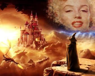 Creare un collage online in un mondo di fantasia con un mago guardando un castello e un drago.