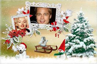 collage navidad marcos fotos lado un arbol animalitos