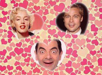 Collage de amor con tres corazones para insertar tres fotos