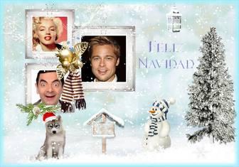 collage navidad personalizar tres fotos