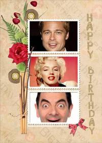 Collage de cumpleaños con tres fotos.