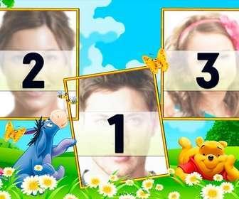 Collage para tres fotografías con Winnie Pooh y su amigo Igor en un campo.