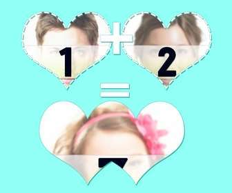 collage tres fotografias corazones sumandose un resultado fusionado