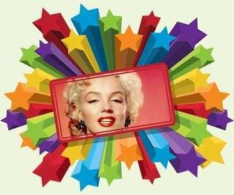 """Des photos de cadre d""""étoiles colorées avec une bordure rouge pour mettre votre photo."""