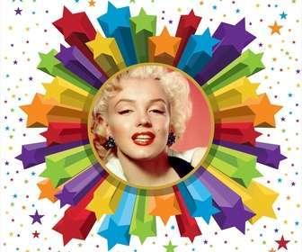 Cadre photo couleurs et les étoiles avec arrondi