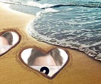 collage amor corazones marcados arena playa