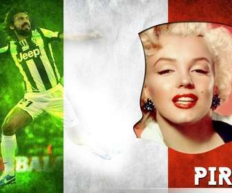 Creare questo fotomontaggio con Andrea Pirlo giocatore della nazionale italiana.