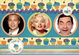 postal cumpleanos 3 fotos cupcakes