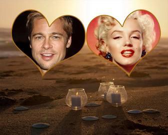 Collage der Liebe für zwei Fotos im Sand