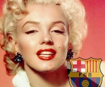 Fotomontaggio di mettere lo scudo di FC Barcelona nella foto.