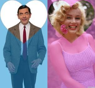Efecto para dos fotos y añadirla en un filtro rosa y azul con corazones
