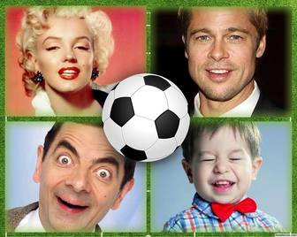 Collage di quattro immagini perfette per gli amanti del calcio