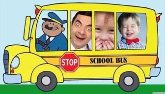 foto collage tres fotos un divertido autobus escolar