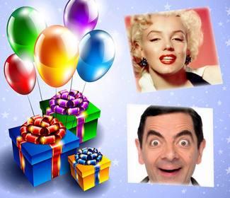 Carte avec des ballons et des cadeaux à lédition avec deux photos et gratuit
