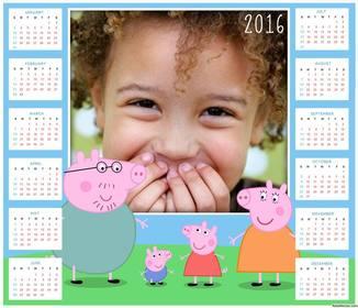 2016 Calendar of the children series Peppa Pig