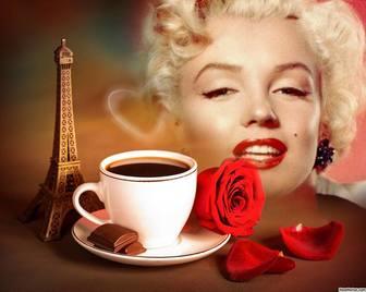 Fotoeffekt der Liebe mit dem Eiffelturm in Paris und einem Kaffee.