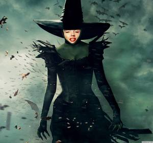 Montagem da foto da bruxa Oz colocar uma foto do seu rosto nele.