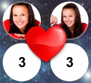 Fotomontaje de Amor con un corazón para 4 fotos