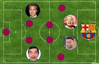 Alinhamento do FC Barcelona na quadra para adicionar 4 fotos