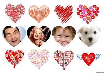 Collage editable con corazones para decorar cuatro fotos