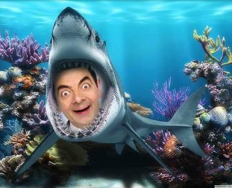 Sua foto dentro da boca de um tubarão sob o mar com esta fotomontagem divertido