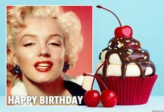 Photo-Effekt mit einem kleinen Kuchen für Geburtstag