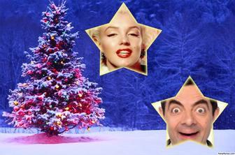 Weihnachtscollage mit einem Baum, um zwei Fotos setzen.