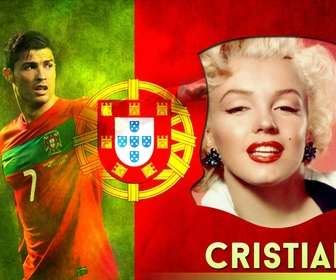 Photomontage of Cristiano Ronaldo, striker selection of Portugal with your photo.