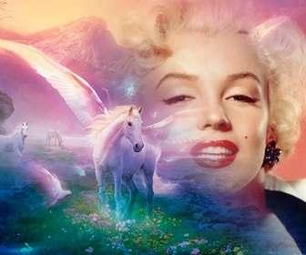 Fantasy fotomontaggio di mettere la tua foto con unicorni bianchi su un paesaggio di sogno fantastico.