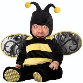 Kinder Fotomontage von Baby mit einem Bienenkostüm zu bearbeiten mit Ihrem Bild zu dieser Ausschreibung Wirkung eines Babys in einem schwarzen und gelben Kostüm einer Biene anpassen