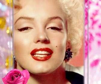 Moldura com uma rosa em que você pode colocar sua foto cercado por belas pérolas e diamantes.