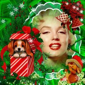 Fotomontaggio Natale con un cucciolo bello come un dono.