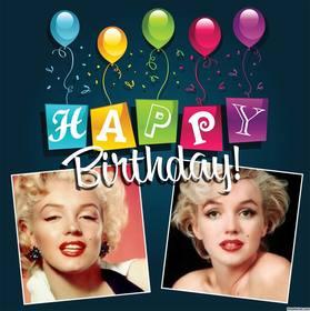 tarjeta editable fotos globos texto colorido happy birthday