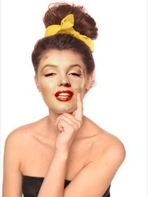 Ejemplo: Fotomontaggio di cambiare il vostro stile e indossare i capelli castani raccolti sulla nuca con un nastro giallo su un arco.