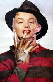 Ejemplo: Fotomontagem de Freddy Krueger. Poses com o seu rosto na estrela de A Nightmare on Elm Street.