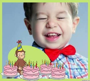 Editierbare Geburtstagskarte mit Curious George für Ihr Foto