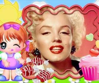Ejemplo: Photo frame per i bambini. Bambino felice di mangiare caramelle.