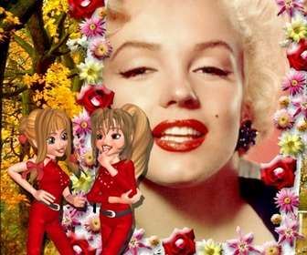Ejemplo: Marco online de fotos de dos amigas hablando y borde de flores. Personalizable con tu foto.