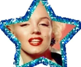 Ejemplo: moldura animada em forma de estrela. Sua foto com uma estrela azul animada sobre sua foto. A animação brilha como purpurina.