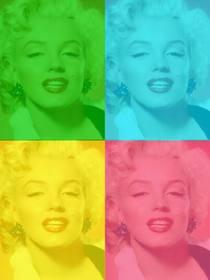 Pop-Art-Box mit Ihrem Foto personalisiert, grün, blau, gelb und pink. Foto hochladen, schneiden Sie es aus und wenden Sie dann dieses Filters mit Hilfe dieser Seite als ein Foto-Editor kostenlos.