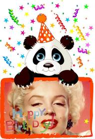 Birthday greeting postcard with a panda