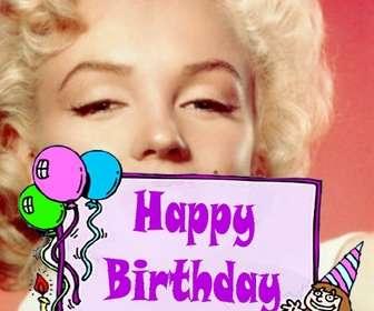 Ejemplo: Postal de cumpleaños para niña con el texto *HAPPY BIRTHDAY* y un pastel con globos. Para hacer con tu foto.